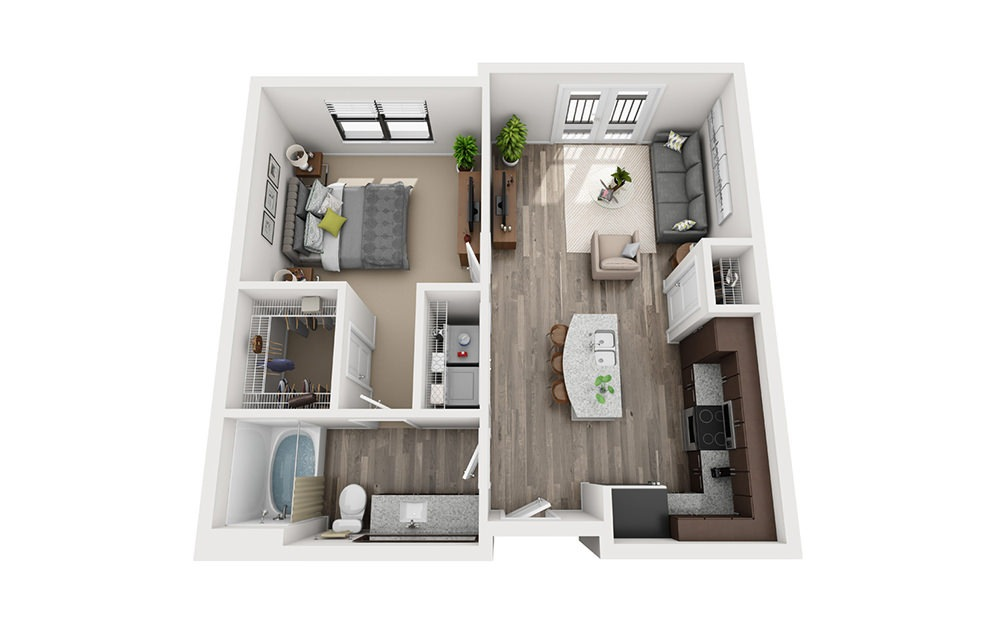 A1 1 Bedroom 1 Bath Floorplan