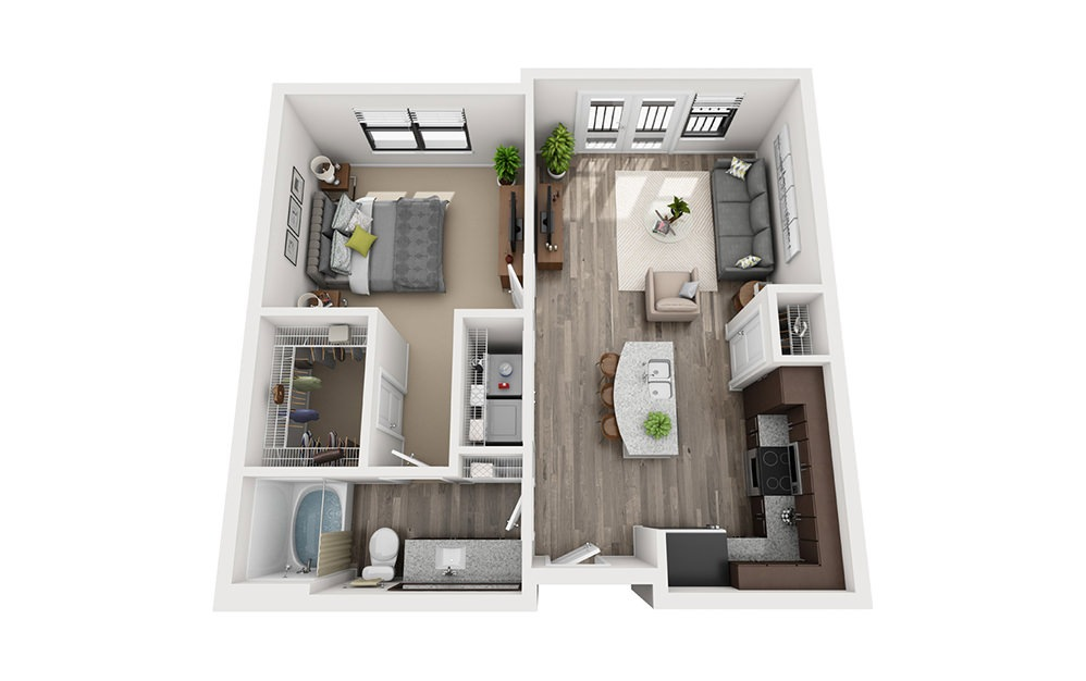 A2 1 Bedroom 1 Bath Floorplan