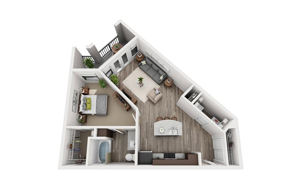 A6 1 Bedroom 1 Bath Floorplan