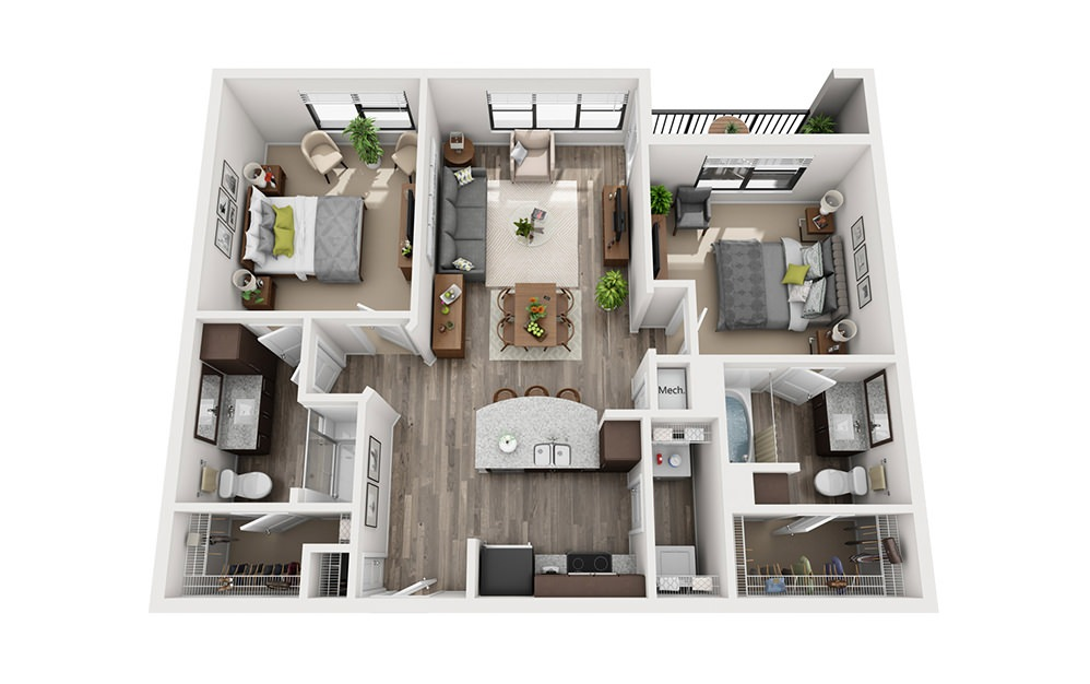 B2 2 Bedroom 2 Bath Floorplan