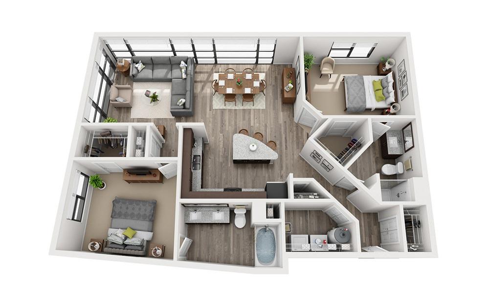 B6 2 Bedroom 2 Bath Floorplan