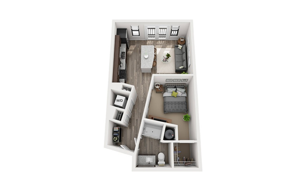 E1 Studio 1 Bath Floorplan